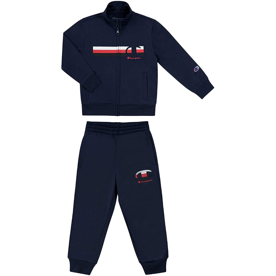 a two piece navy sweat set with the champion logo on it