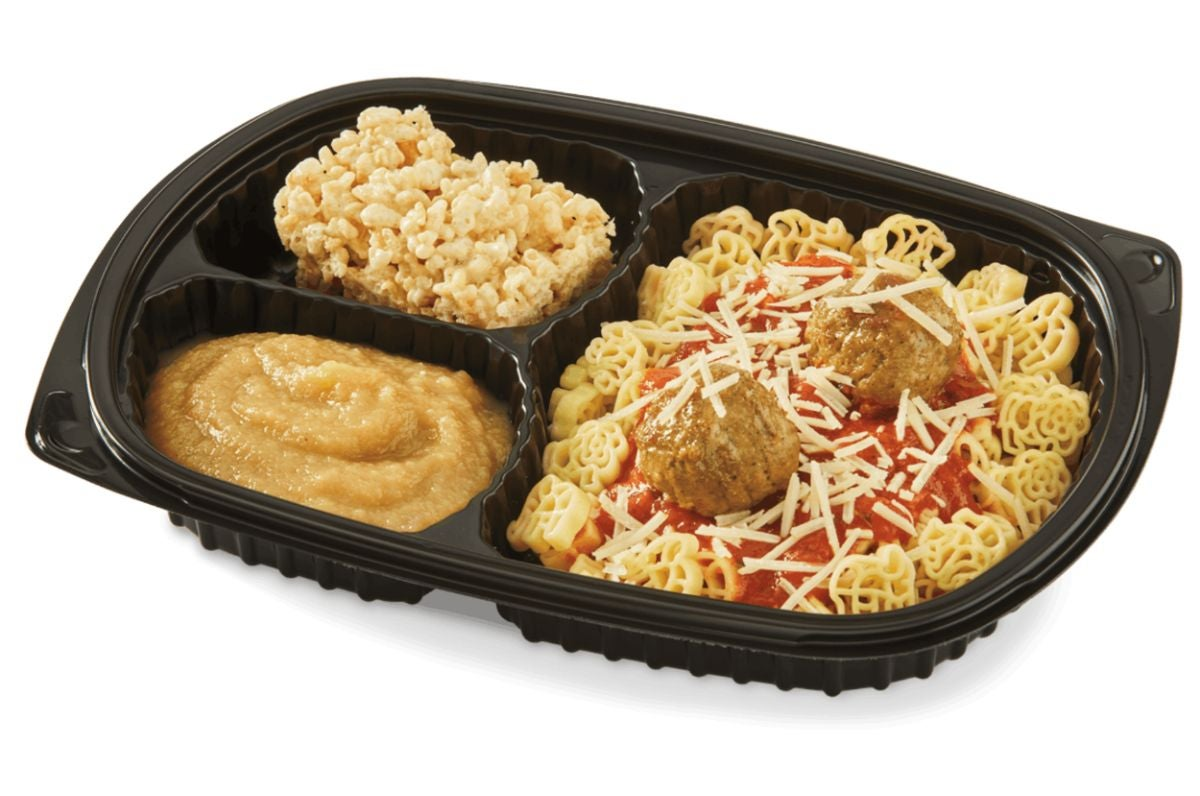 Spaghetti and meatballs with a side of applesauce and a Rice Krispies treat