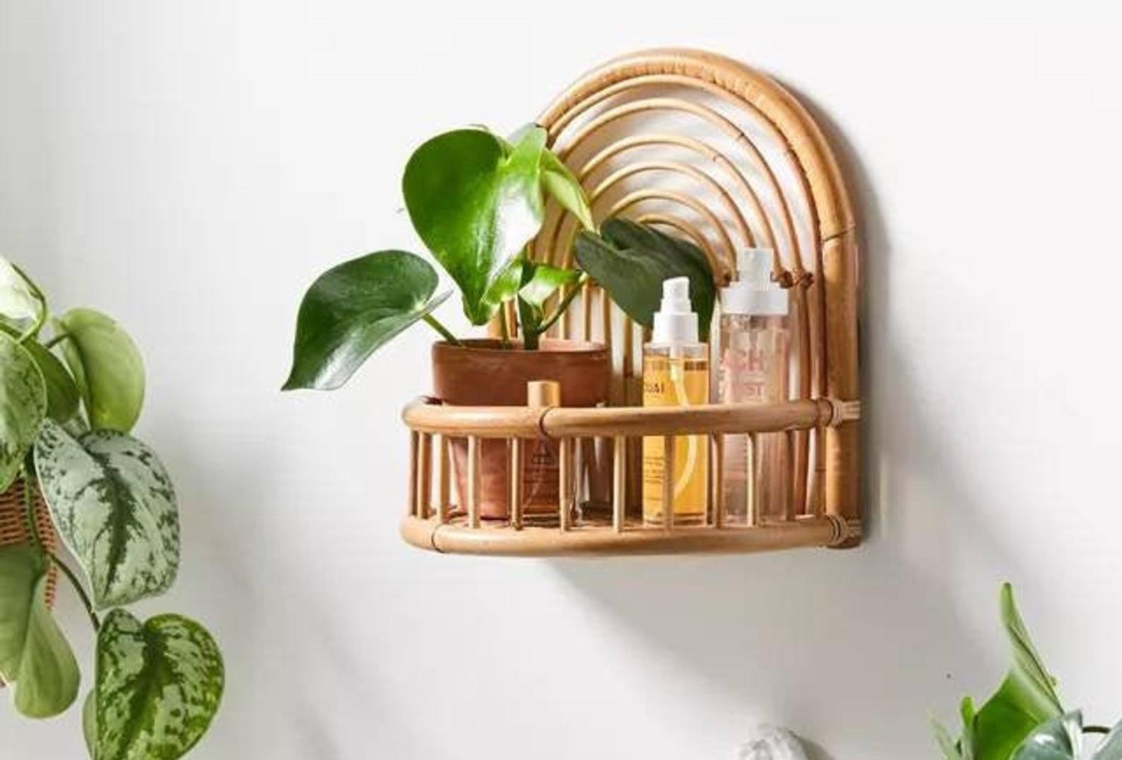 Curved rattan shelf with matching rattan headboard