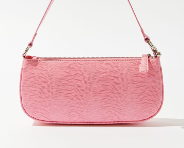 a tiny pink leather purse