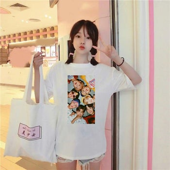 model wearing the bts t shirt in white