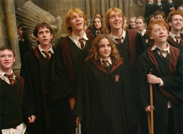 A group of Gryffindors looks on in amazement