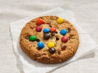 A cookie with M&M's