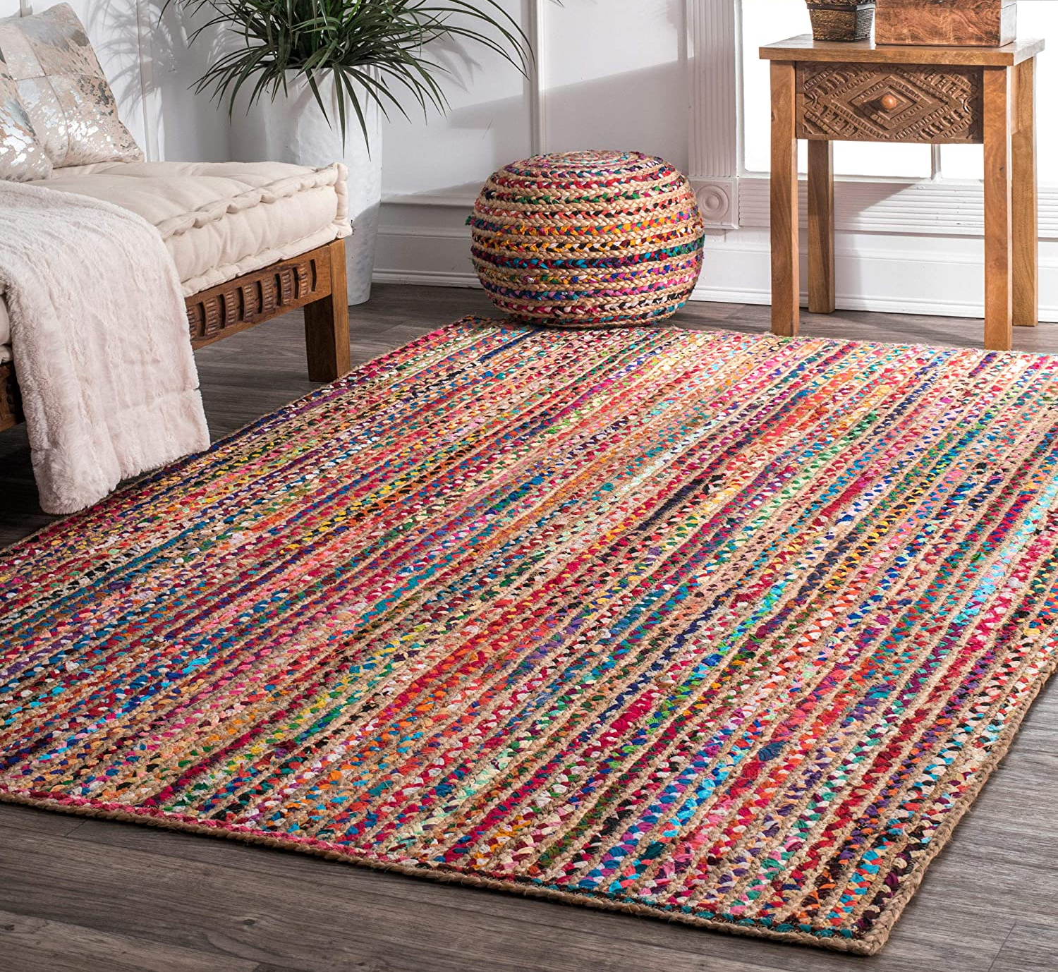 the area rug sitting on the floor