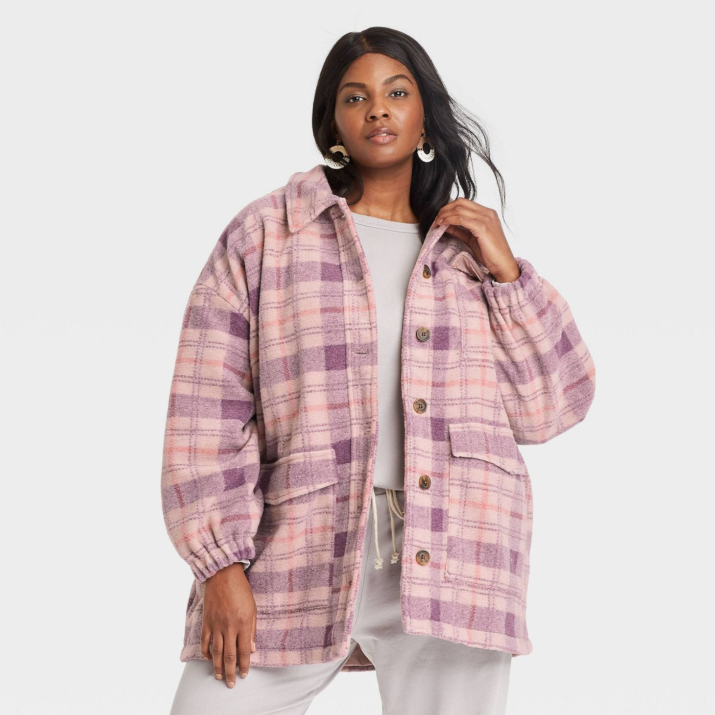 model wearing the pink plaid shacket