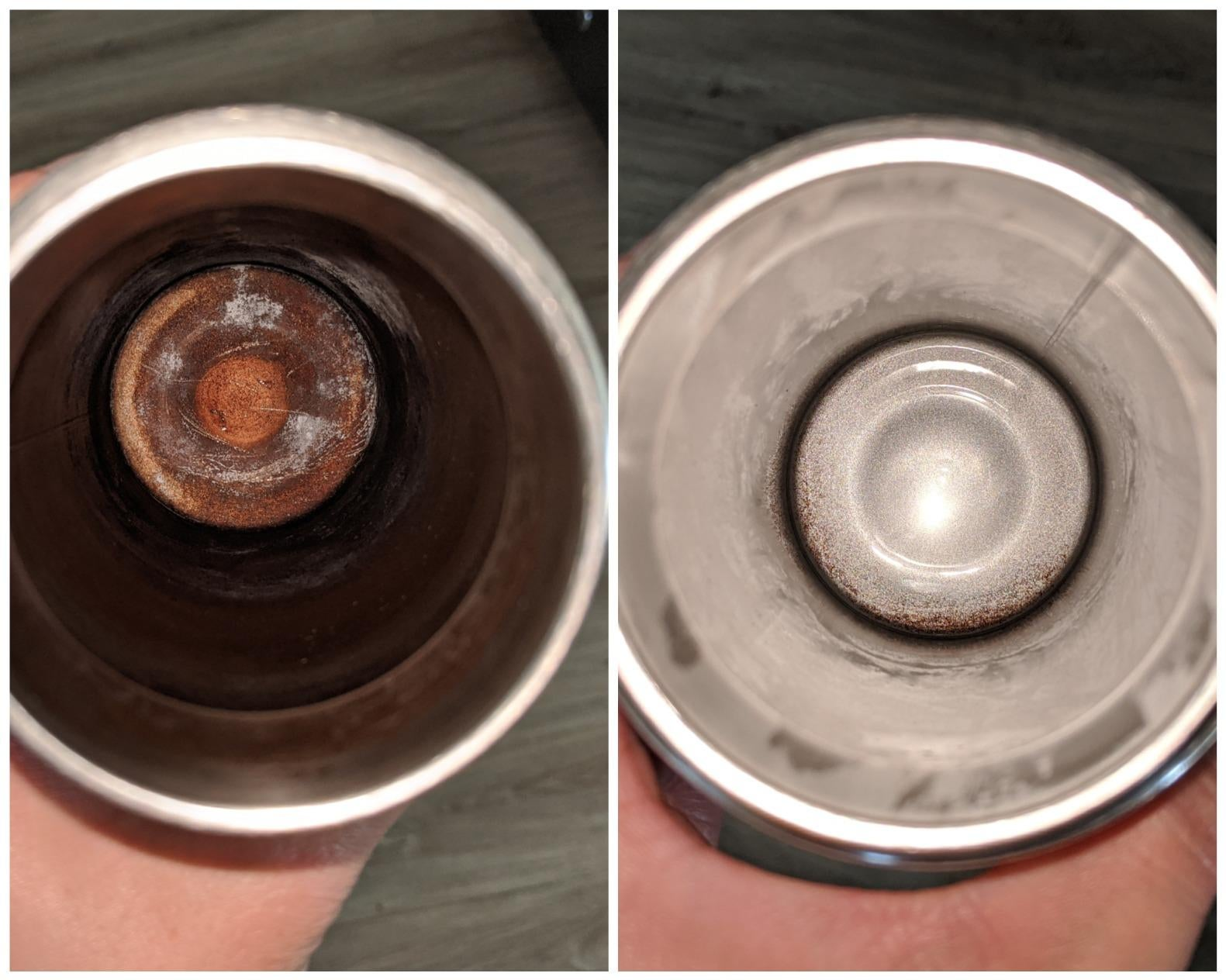 before and after photo of a thermos that is stained dark brown looking shiny and silver again after the bottle tablets removed the stains