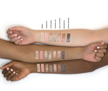 the eye shadows shown swatched on three different skintones