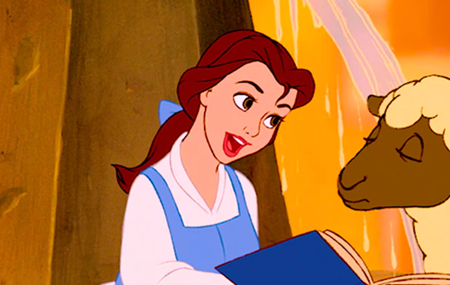 Belle from Beauty and the Beast wears a long-sleeved shirt underneath a dress. She also wears a bow in her hair and is singing to a sheep.
