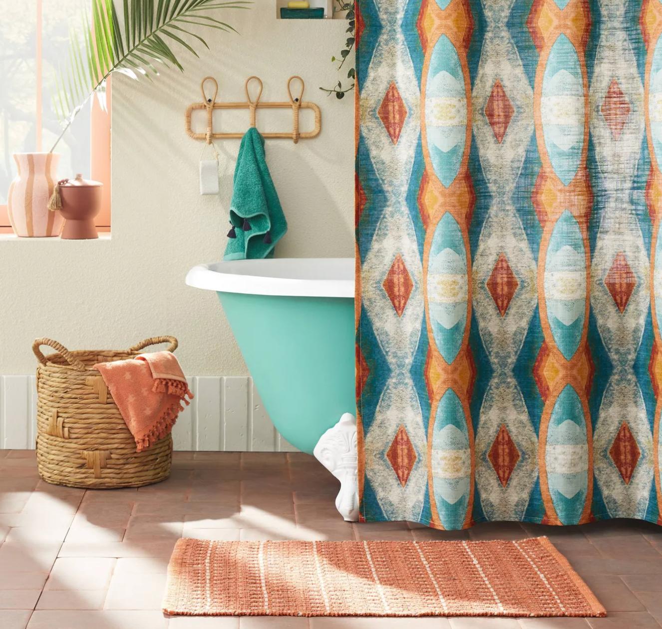 a multi-textured rug in a bathroom