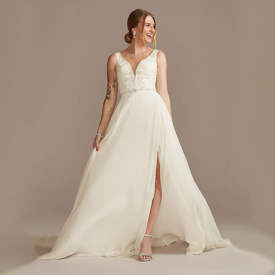 Lace Applique Plunge Chiffon Skirt Wedding Dress