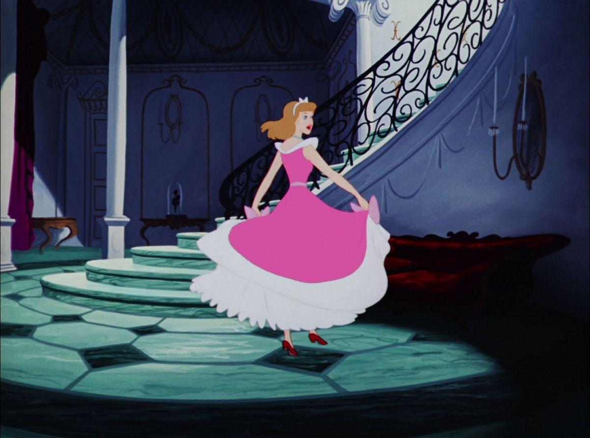 Cinderella twirls in her dress
