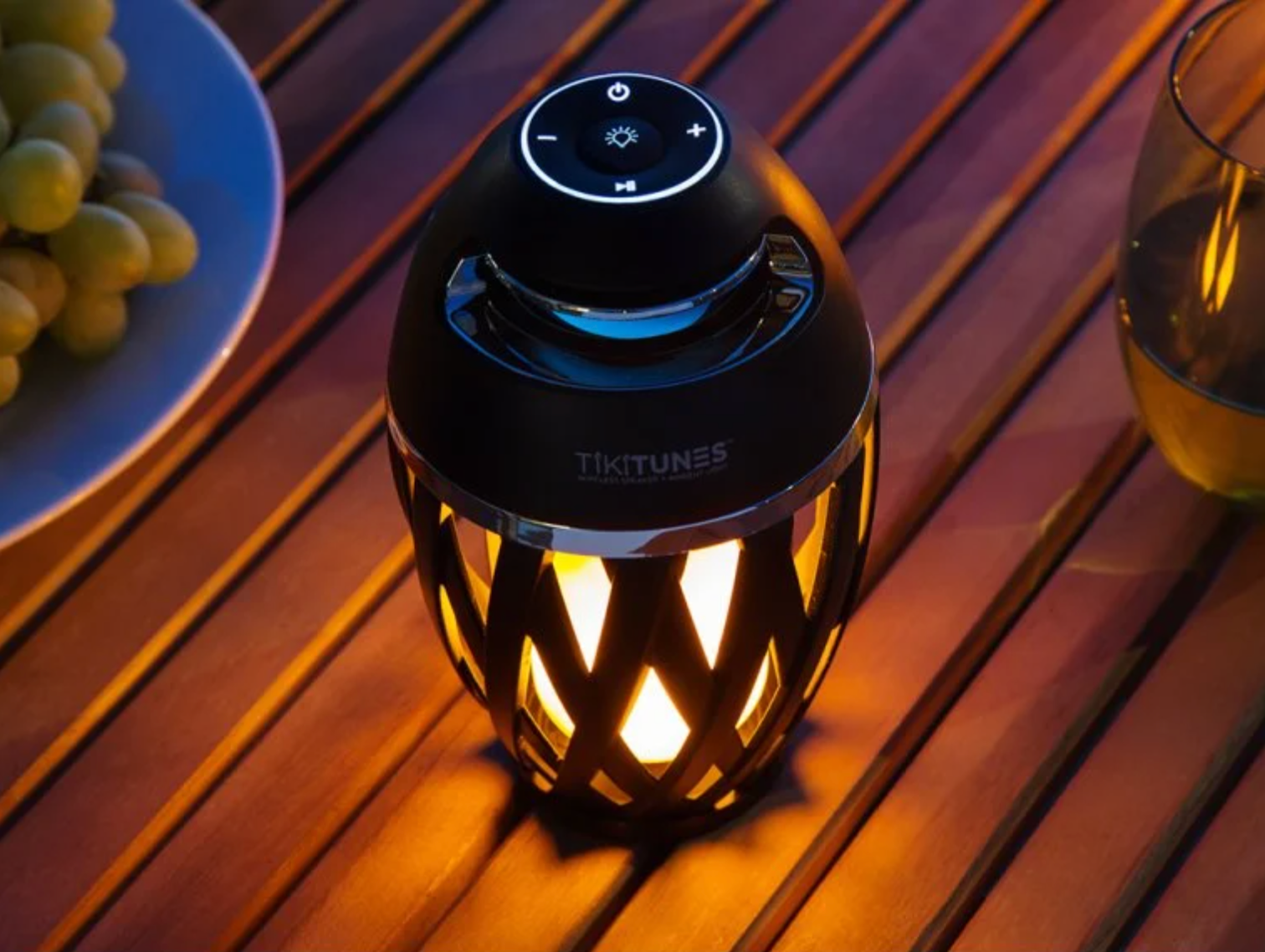 tikitunes speaker with the light turned on