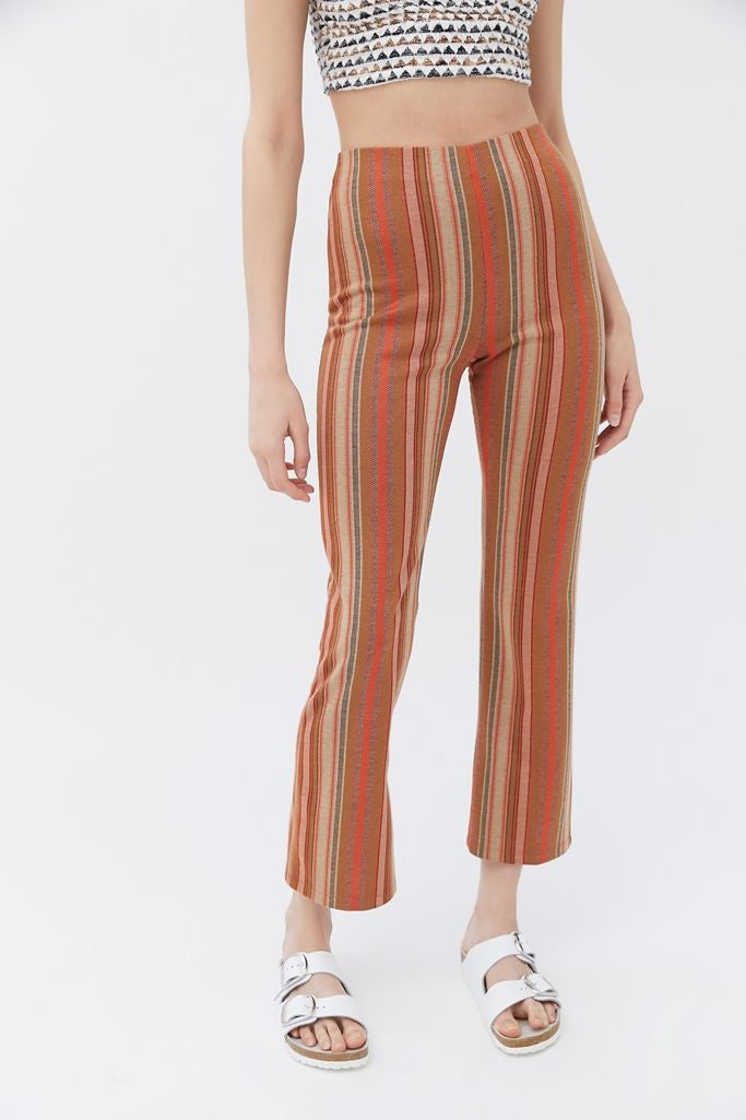High-waisted patterned flared pants
