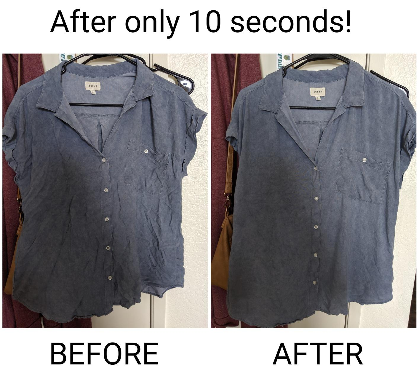 a split image of a reviewer's shirt before and after using the wrinkle release spray
