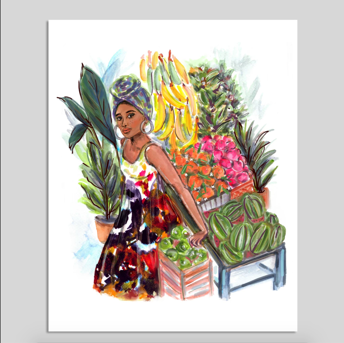 Close up of a drawing of a woman relaxing near a fruit stand