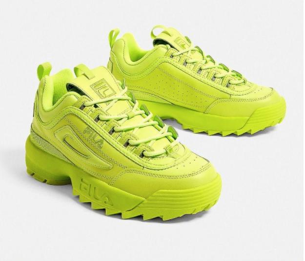 Lime green chunky fila sneakers