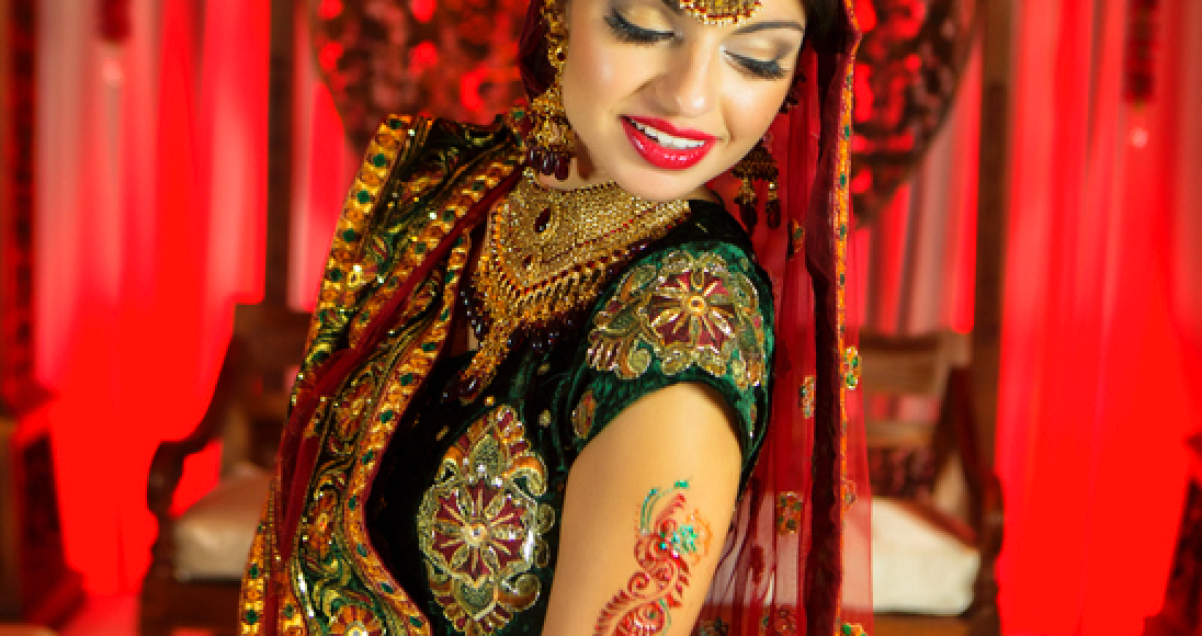 Woman in traditional Indian wedding dress