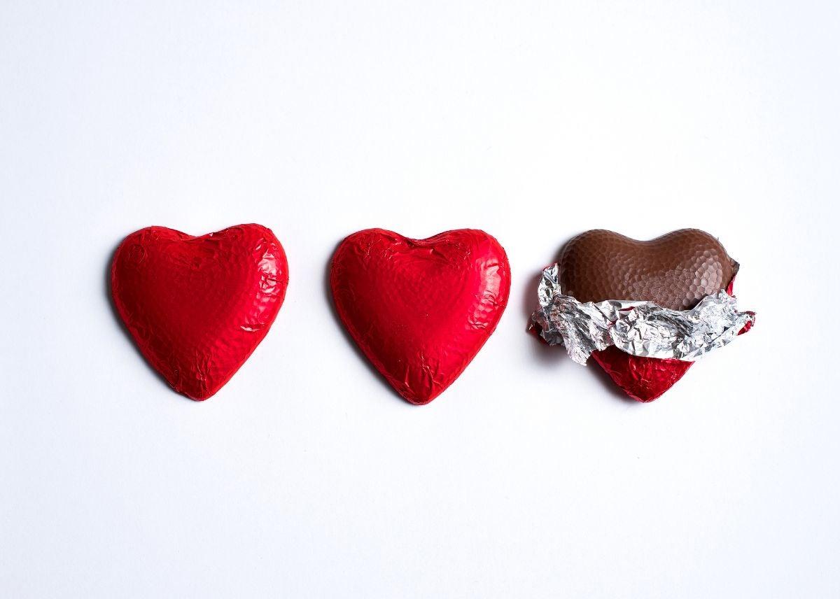Three heart-shaped chocolates