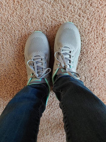 Reviewer wearing Lamincoa running shoes