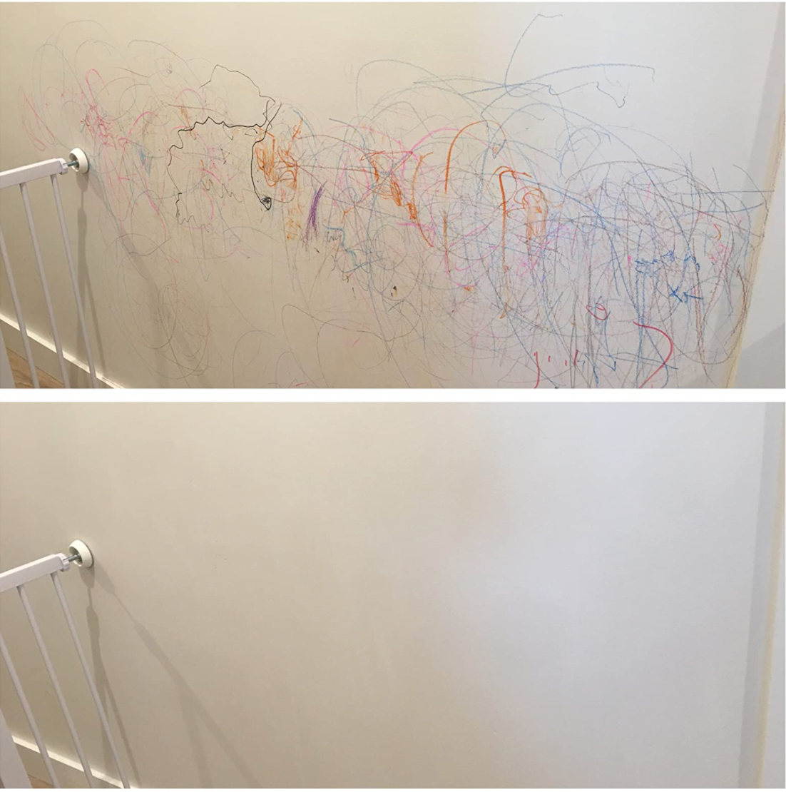 Reviewer's before photo shows the wall covered in crayon markings, and the after shows all those markings removed