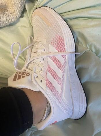 Reviewer wearing Adidas running shoe