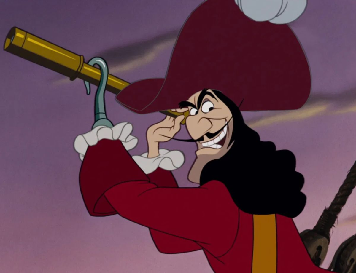 "Hans Conried as Captain Hook in the movie ""Peter Pan."""
