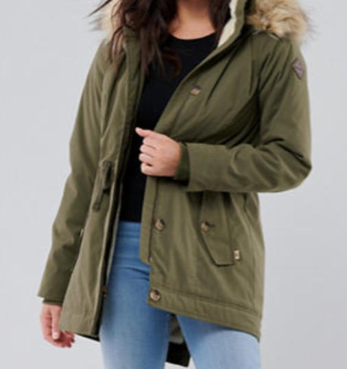 A warm jacket with fake sure around the neck