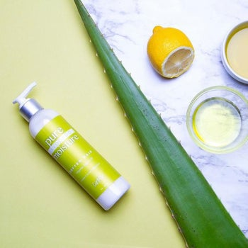 product image of the curl moisturizer, with aloe on the side