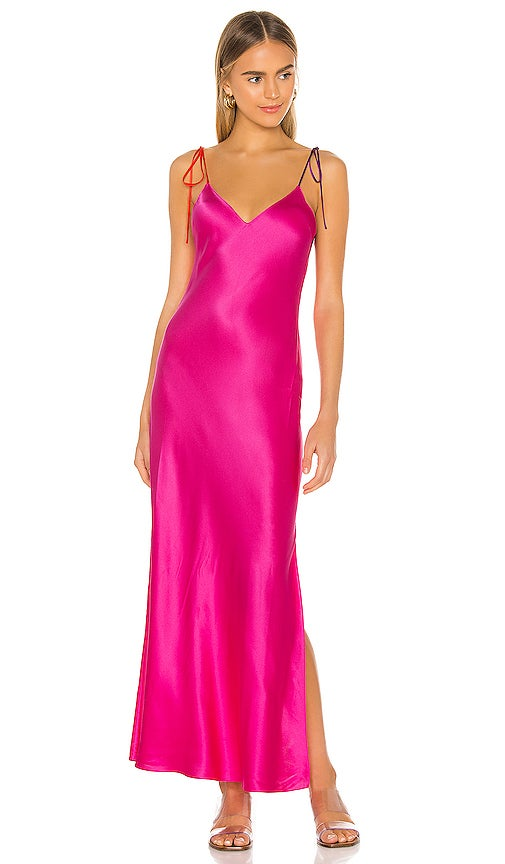 A long dress with a slit  and straps that tie