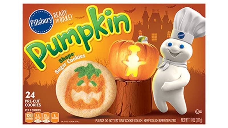 Pillsbury sugar cookies with a jack-o-lantern design on them
