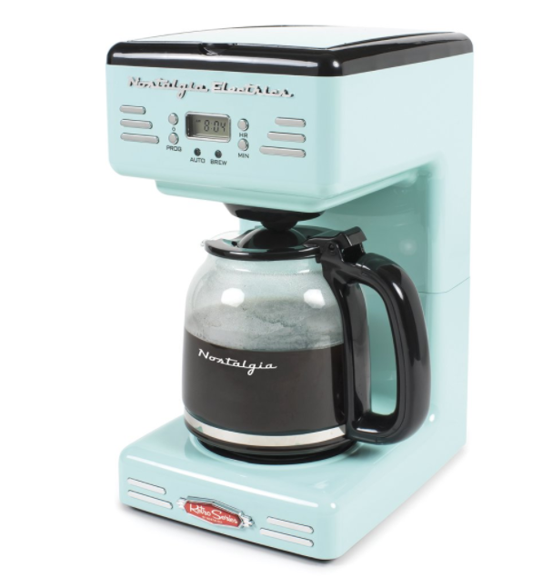 A pale light blueish green coffee brewing system with a coffee pot that has