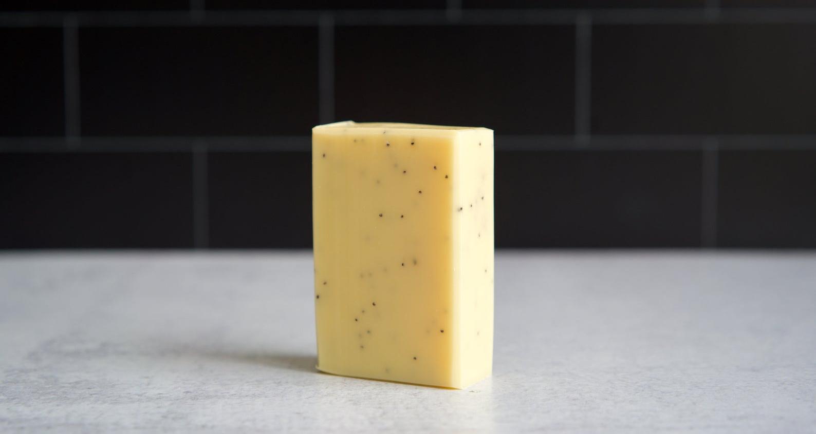 bar of lemon poppyseed soap