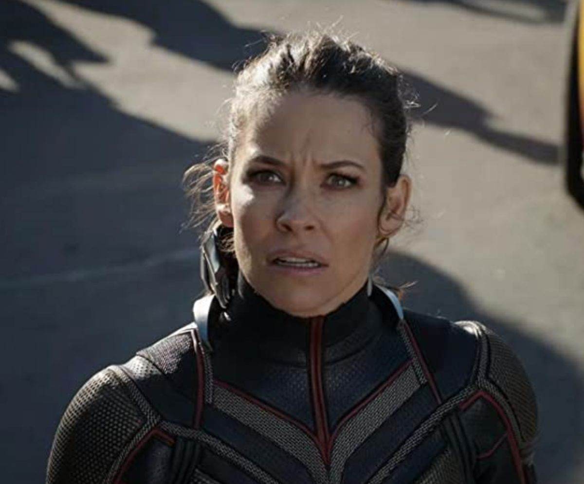 "Evangeline Lilly as Hope van Dyne in the movie ""Ant-Man and the Wasp."""