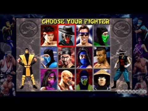 Character selector screen for Mortal Kombat featuring a variety of warriors