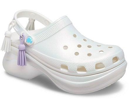 White, shiny platform Croc sandals