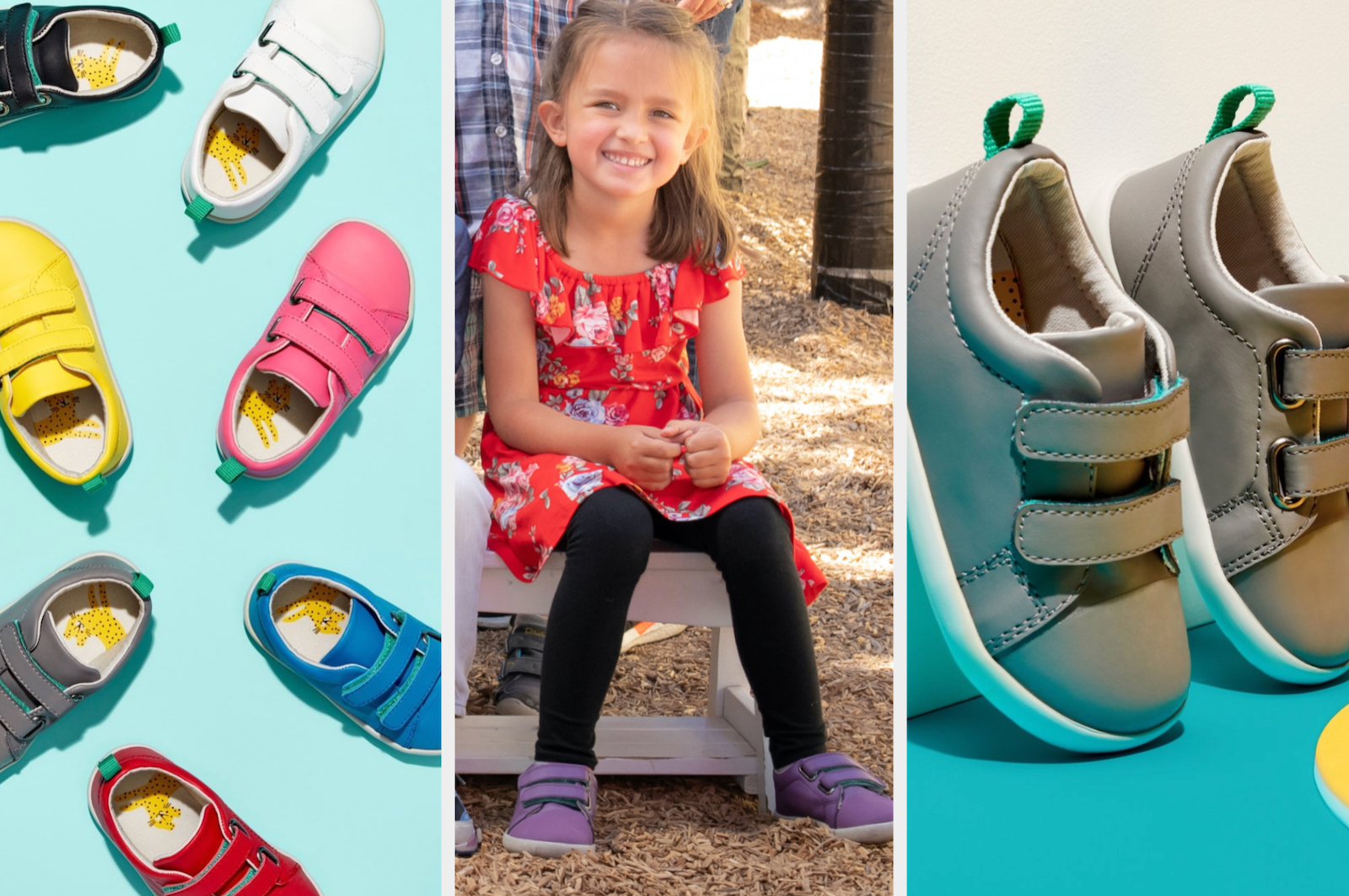 buzzfeed editor's kid wearing the shoes in purple, the shoes in various colors, and a close-up of the shoes' velcro closure