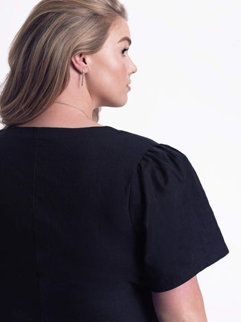 back view showing the puffy short sleeve design
