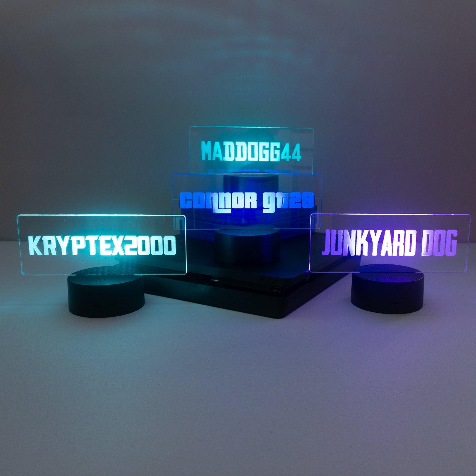 three glowing gamer tag lights