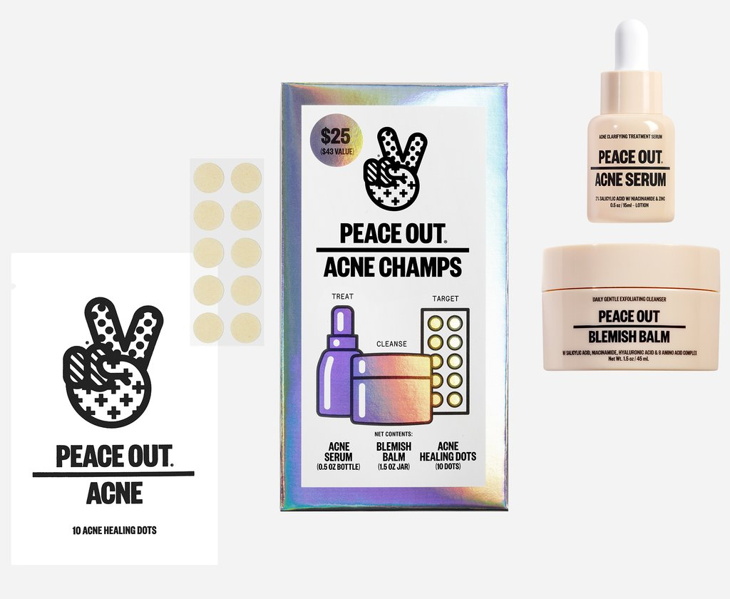 the set of acne dots, acne serum, and blemish balm