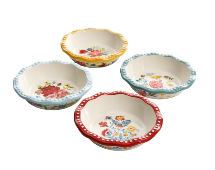 Four mini-pie pans with retro flowers