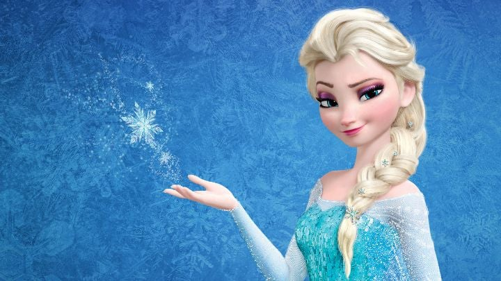 Elsa from Frozen creating a magical snowflake with her bare hands
