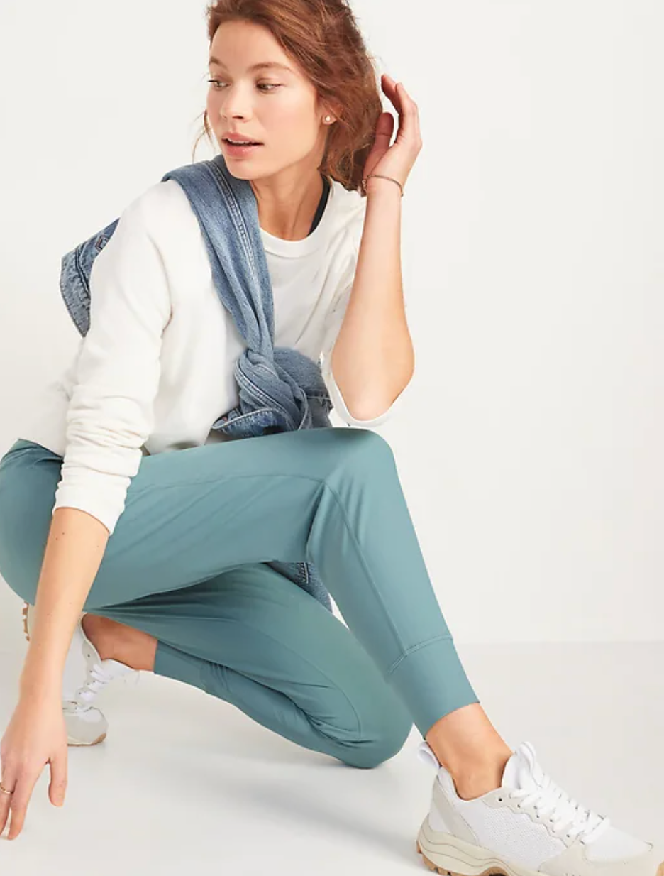 Model in a pair of light blue joggers