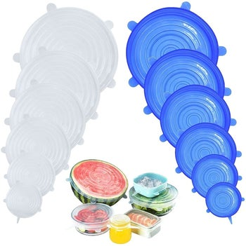 the lids in various sizes and colors