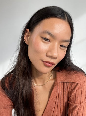 model in a neutral shade