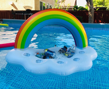 the rainbow float in pool