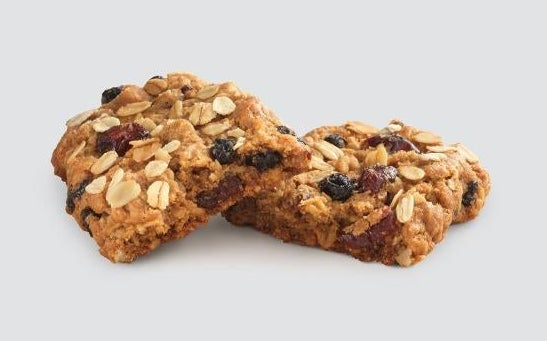 An oatmeal bar with blueberries and cranberries