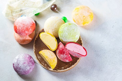 A plate of colorful Mochi cut in half
