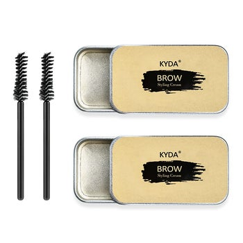 the two packs of eyebrow soap and spoolie brushes