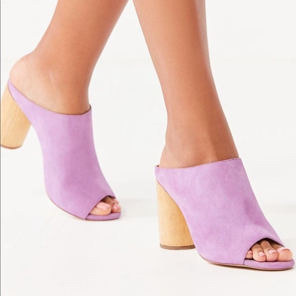Lilac mules with a thick wood heel