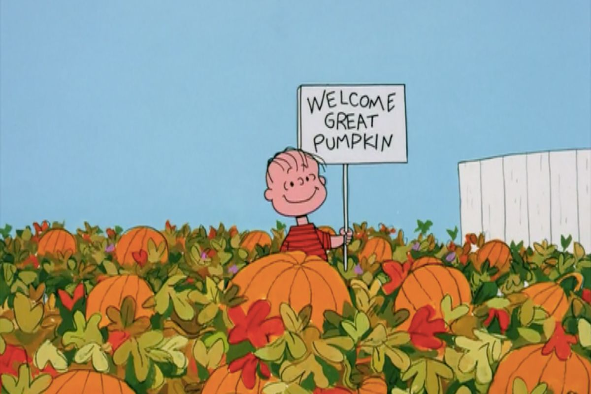"""Linus in a pumpkin patch in """"It's the Great Pumpkin, Charlie Brown"""""""